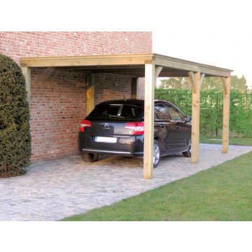 Carport 3x3m Plat dak + verlenging 2,85x3m